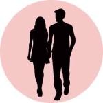 女性と男性のシルエット1